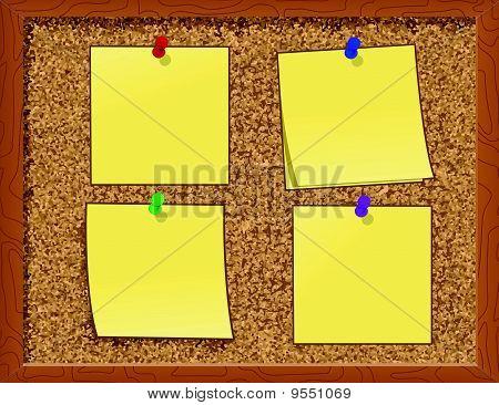 Notes on Cork Board - vector illustration