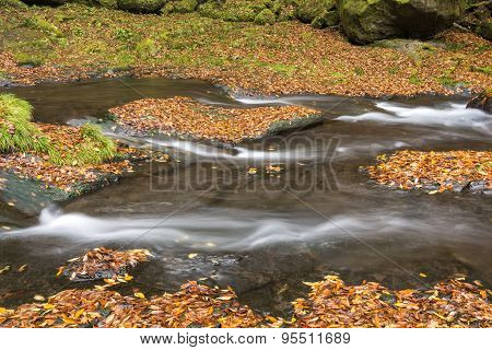 River flowing on bedrock