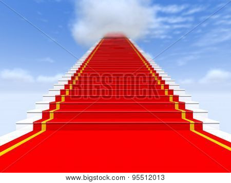Stairs, Red Carpet, The Sky With Clouds.