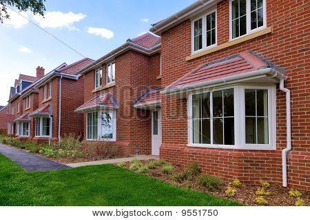 Row Of Empty New Houses