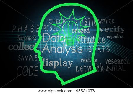 Light bulb in head against computing buzzwords on black background
