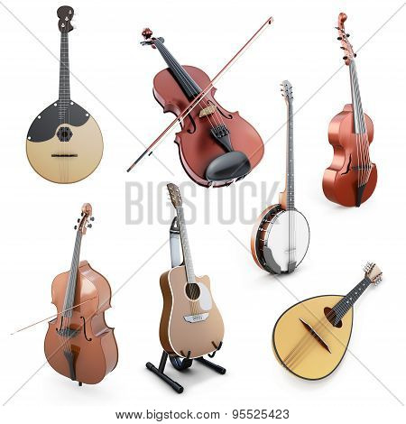 Set of string musical instruments isolated on white background. Domra Mandolin Guitar Double bass Banjo Violin on a wihte. 3d illustration. poster