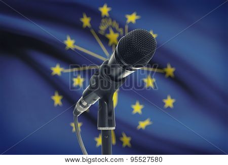 Microphone On Stand With Us State Flag On Background - Indiana