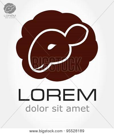 Sheep symbol. Lamb vector.
