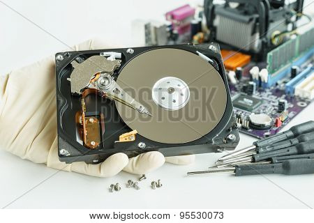 Man Hand Hold Hard Disk Drive For Checking
