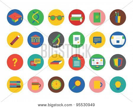 University vector icons set. Education, students or school and college symbol. Stock design element.
