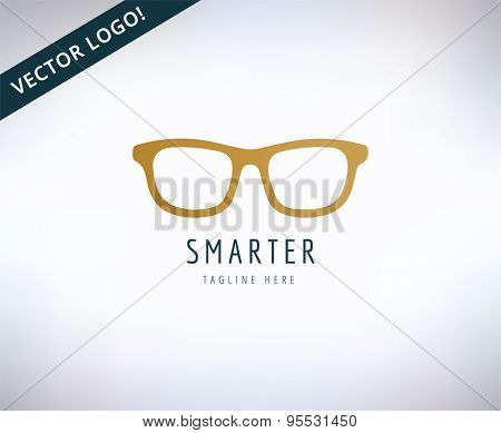 Glasses icon, education and smart. Stock illustration for design. Abstract vector logo element.