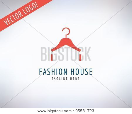 Hanger vector logo icon. Style, Fashion or Shop and Dress symbol. Stocks design element