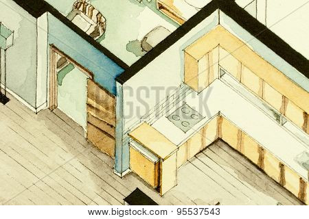 Isometric partial architectural watercolor drawing of condo apartment floor plan, symbolizing old-school artistic old fashioned design approach to real estate property management, contracting business and home design process poster