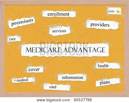 Medicare Advantage Corkboard Word Concept