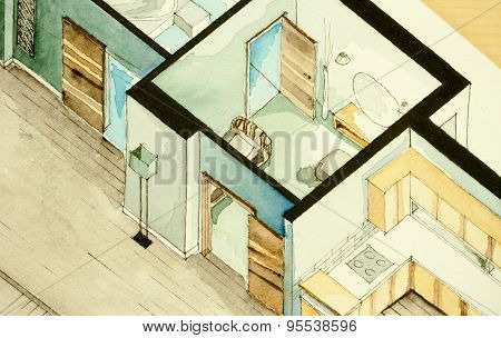 Isometric partial architectural watercolor drawing of apartment condo floor plan, symbolizing old-school artistic old fashioned inspiring design approach to real estate property management and contracting business poster