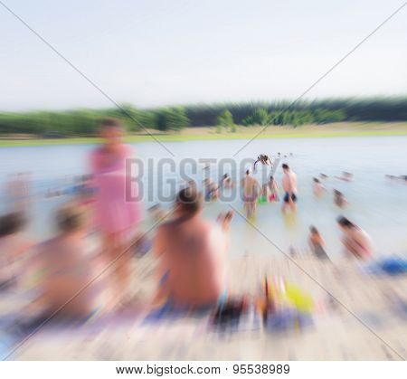 The Abstraction-background, Traditional Families Have A Rest On A Beach.
