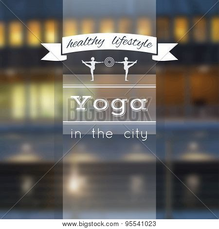 Name of yoga studio on a city background.
