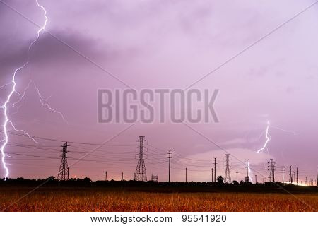 Electrical Storm Thunderstorm Lightning Over Power Lines South Texas