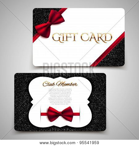 Gift Cards Vector Card Template, Club Member Card, Red Bow