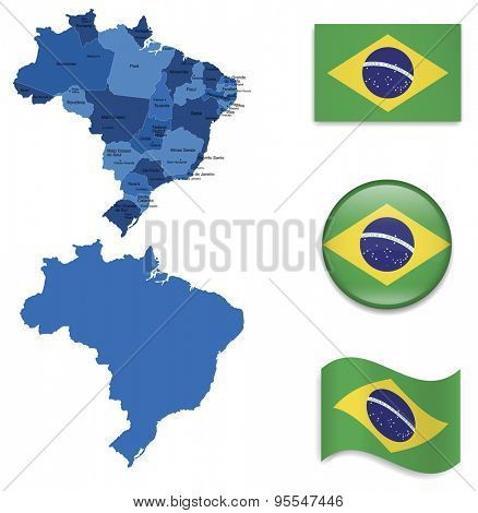 High Detailed Map of Brasil With Flag Icons