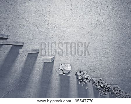 3d image of broken concrete stair