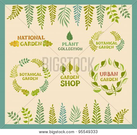 Set of vector botanical round leafer backgrounds.