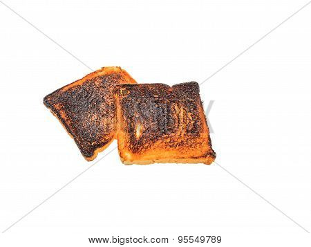 Burnt Toast Bread Isolated White Backround With Clipping Path