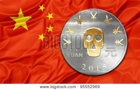 Chinese currency Yuan with a skull in place. Business concept about:  finalcial crisi, failure and  debit, bankruptcy, financial emergency, default, currency risk and consumerism poster