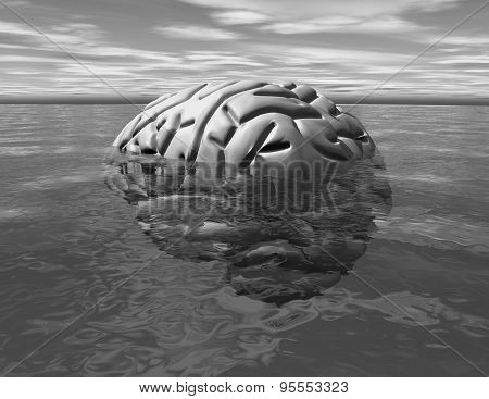 Subconscious Mind, Psychology Concept Idea With Brain Abstract Illustration.
