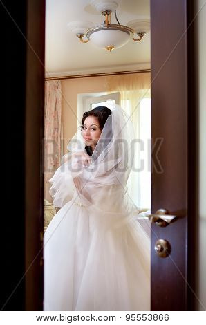 Fiancee Smiles In A White Wedding-dress And Bridal Veil