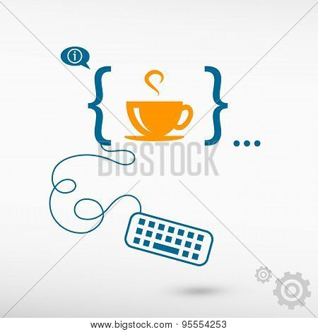 Coffee Cup And Flat Design Elements.