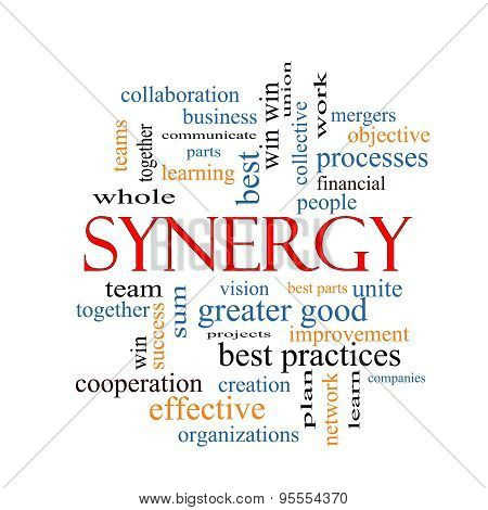 Synergy Word Cloud Concept with great terms such as team win together and more. poster