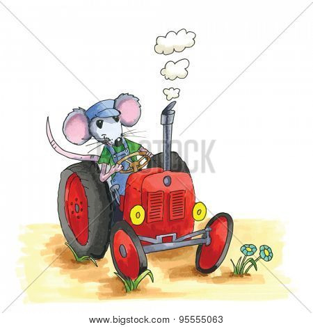 From the series mouse - mouse as farmer on red tractor