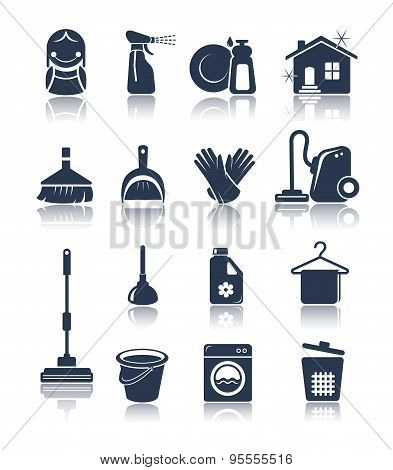 Blue Cleaning Icons
