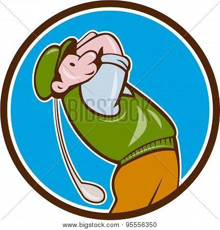 Vintage Golfer Swinging Club Teeing Off Circle