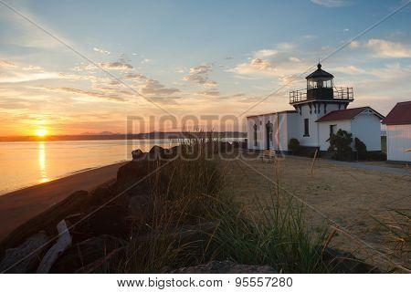 Bright Orange Sunrise Puget Sound Point No Point Lighthouse