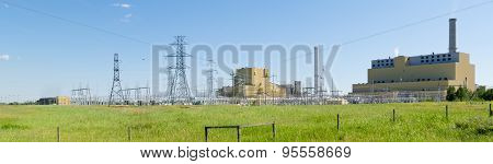 Coal Burning Power Station In Green Landscape