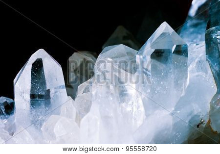 Rock Crystals Quartz Cluster Black Background