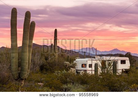 Fifth Wheel Camping Trailer On Desert Campground
