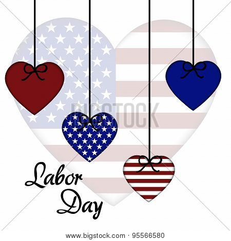 illustration of a colorful hearts for Labor Day. poster