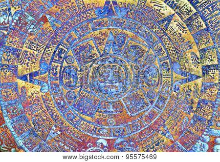 Ancient Mayan Calendar, Abstract Color Background.
