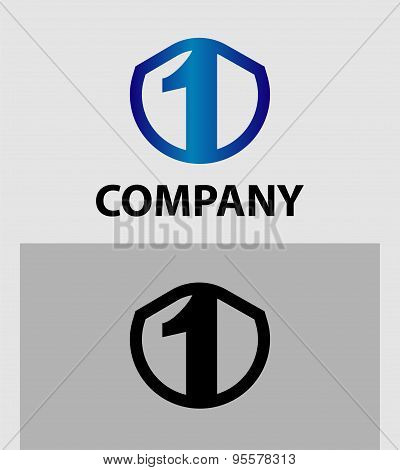 Abstract Number 1 logo Symbol icon set