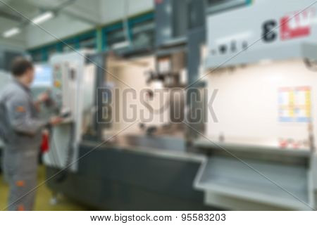 Production of electronic components  at high-tech factory blur b