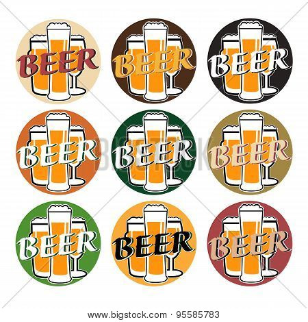 Vector Set Coaster With Beer Glasses On Different Background