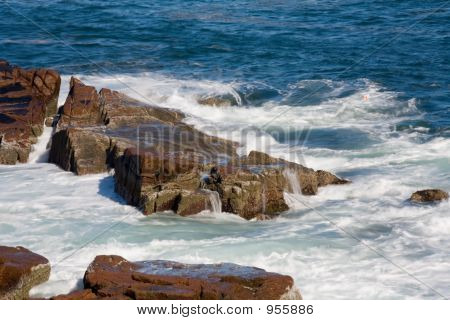 Waves At Rocky Maine Coastline 073