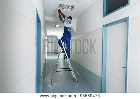 Electrician Installing Light On Ceiling