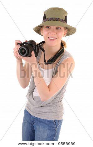 Tourist-girl With Photocamera