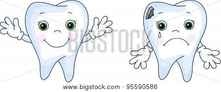 Healthy Tooth Smiling. Sick Tooth Crying. Sick Tooth Has Caries Hole