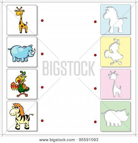 Giraffe, Rhino, Parrot And Zebra. Educational Game For Kids
