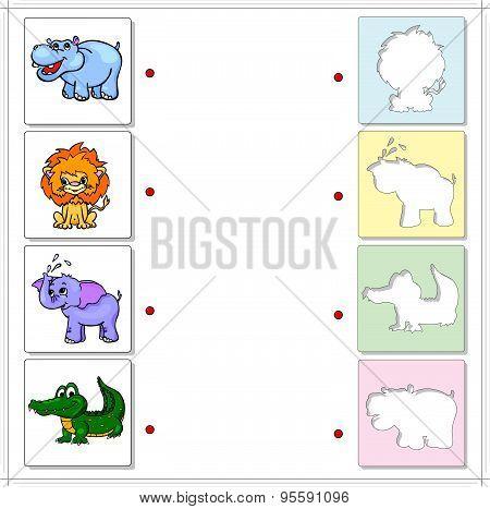 Hippo, Lion, Elephant And Crocodile. Educational Game For Kids