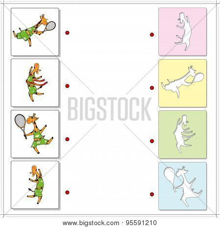 Giraffes Sportsmen Playing Tennis And Running. Educational Game For Kids