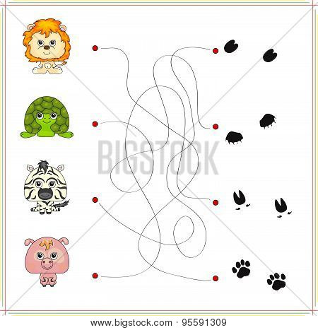 lion turtle zebra and pig with their traces of foot. Game for children: go through the maze and find the right answer poster