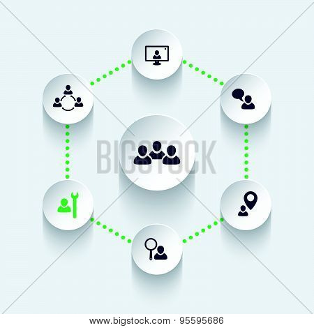 business people, team, personnel, round modern icons, vector illustration