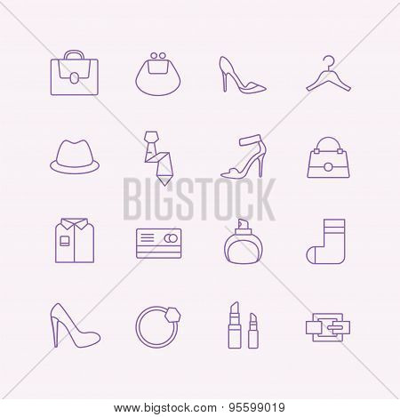 Women vector icons set. Cloth, perfume and shop symbols. Stocks design elements.